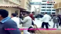 شاهد بالفيديو اعتداء موظفين مجهولي الصفة (بلطجية) اليوم على طلاب الاخوان داخل الحرم الجامعي