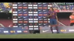 تقديم اللاعب إبراهيموفيتش بقميص رقم 9 لنادي برشلونة الإسباني