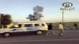 لحظة قصف معبر رفح المصرى