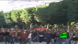 تونس: إصطدامات المتظاهرين مع الشرطة بعد إطاحة الرئيس التونسى زين العابدين بن على