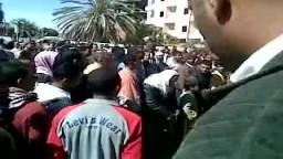 احتجاجات مواطني مدينة الخارجة بالوادي الجديد بعد مقتل 3