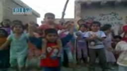 سوريا- الرقة - الطبقة - مظاهرة لأطفال بمدينة الطبقة