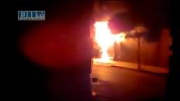 سوريا - تلبيسة - إطلاق نار كثيف و حرق كابينة هاتف 19-7