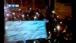 سوريا _حماة كفرزيتا اللطامنة مظاهرة مسائية على الدرجات النارية لأسقاط النظام