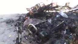 سوريا- حمص تلبيسة الامن والشبيحة الاسدية يحرقون الدراجات النارية