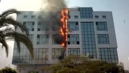 حريق ضخم بمبني بنك القاهرة فرع يوسف عباس شارع الطيران صلاح سالم