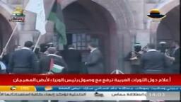القائد إسماعيل هنية يقوم بفتح باب المسجد القبلي (الحرم القديم) أحد رموز المسجد الاقصى في مشهد تمثيلي