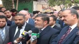 تصريحات د/ محمد مرسى رئيس حزب الحرية والعدالة من شبرا الخيمة 3/ يناير 2012