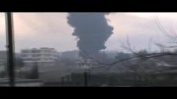 سوريا- حمص - قصف أنبوب النفط و إشتعال ما حوله