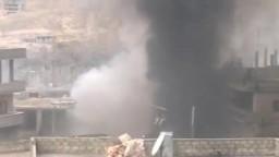 سوريا- ريف دمشق-  صد الجي الحر لهجوم عصابات الاسد على المدينه 1 2 2012