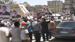 مسيرات وجسور بشرية لمويدوا الشرعية بالفيوم