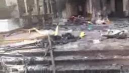 مسجد رابعة العدوية محترق بالكامل