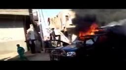 حرق بوكس شرطة  لعد اعتداء  الأمن على الثوار