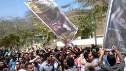 مسيرة طلاب ضد الانقلاب بجامعة اسيوط 6/ 4/ 2014