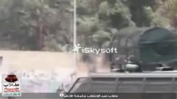 حرق مدرعة للشرطة من قبل الثوار