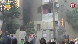 إحراق نقطة شرطة مساكن الزلزال بحلوان