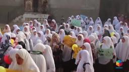 إضراب طالبات المنصورية بعد حكم إعدام سامية