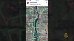 غوغل مابس تظهر إغلاق كل الشوارع والطرقات والكباري الرئيسية المؤدية لميدان التحرير