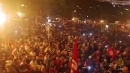 هتافات ضد السيسي خلال احتفال أنصار قيس سعيد