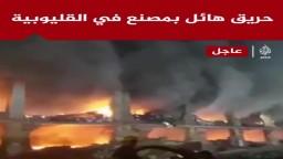 """اندلاع حريق هائل في مصنع """"أبو حوا"""" للدراجات النارية بالقليوبية والحماية المدنية تدفع بـ 16 سيارة للسيطرة عليه"""