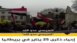 بهتافات ضد السيسي.. مصريون يحيون ذكرى 25 يناير أمام البرلمان البريطاني في لندن