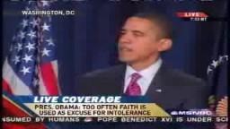 الرئيس الامريكى اوباما يستشهد بحديث شريف اثناء كلمته