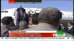 لحظة وصول واستقبال الرئيس مرسي فى ايران