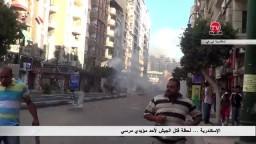 الاسكندرية- لحظة قتل الجيش لأحد مؤيدي مرسي