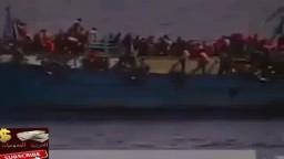 لحظة غرق مركب الصيد ببرج رشيد